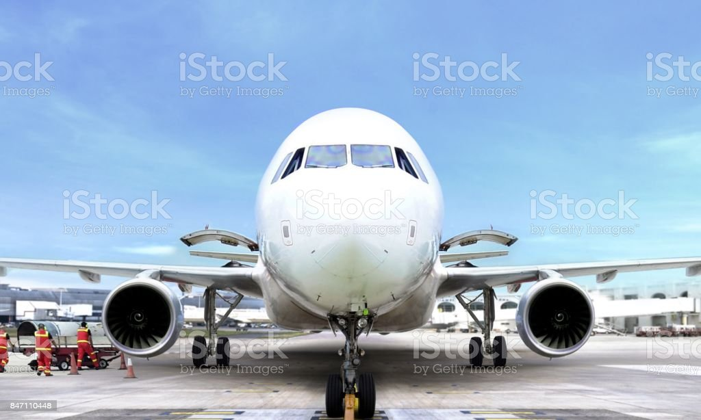 Airplane front view at airport stock photo