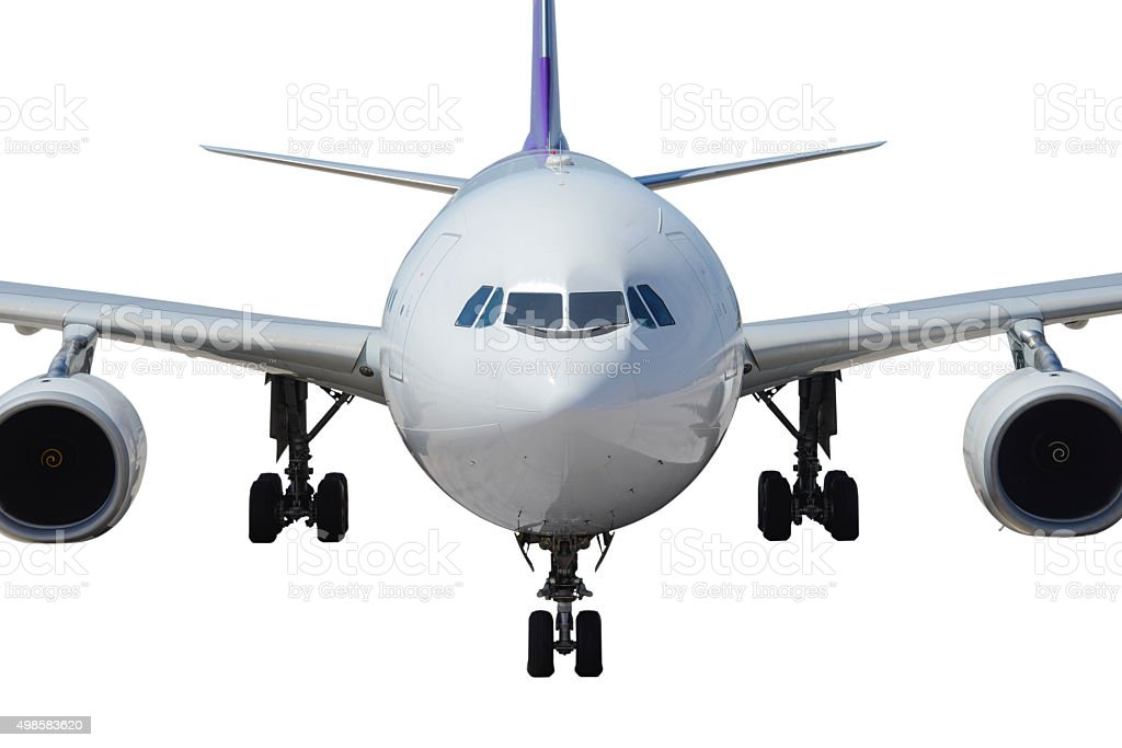 Airplane front view stock photo
