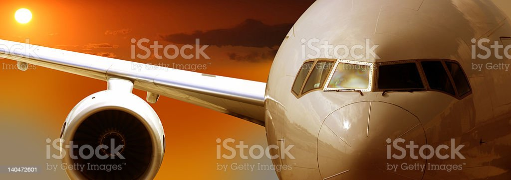 Airplane getting speed royalty-free stock photo