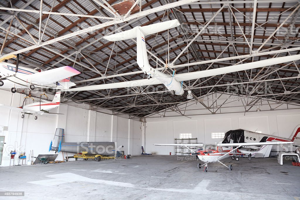 Airplane Hangar stock photo