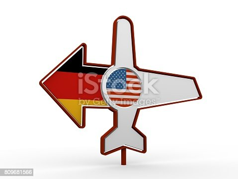 istock Airplane icon and destination arrow 809681566