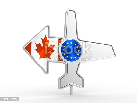 istock Airplane icon and destination arrow 809681850