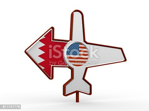istock Airplane icon and destination arrow 811747776