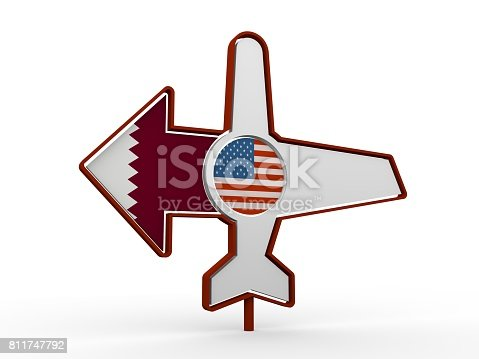 istock Airplane icon and destination arrow 811747792
