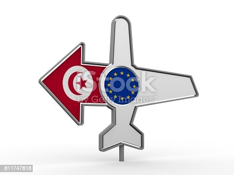 istock Airplane icon and destination arrow 811747818