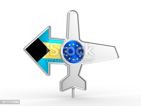 istock Airplane icon and destination arrow 811747836