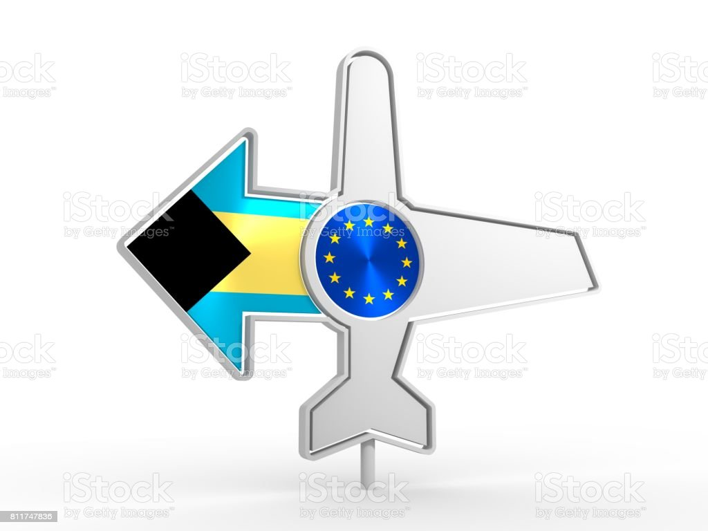 Airplane icon and destination arrow stock photo