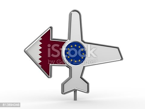 istock Airplane icon and destination arrow 812894046