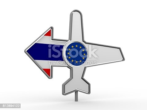 istock Airplane icon and destination arrow 812894122