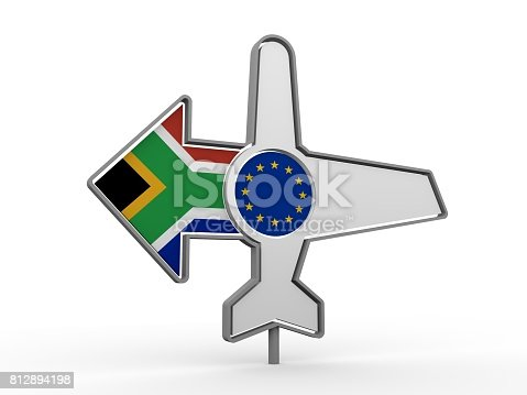istock Airplane icon and destination arrow 812894198