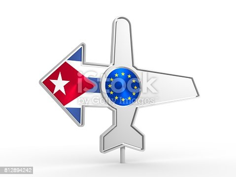 istock Airplane icon and destination arrow 812894242