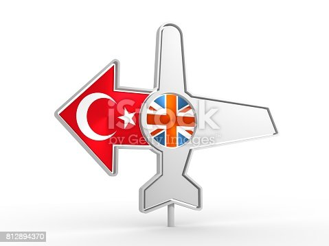 istock Airplane icon and destination arrow 812894370
