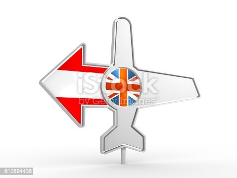istock Airplane icon and destination arrow 812894438