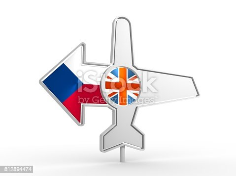 istock Airplane icon and destination arrow 812894474