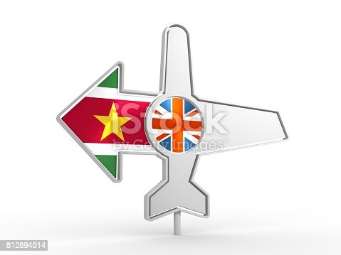 istock Airplane icon and destination arrow 812894514