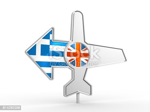 istock Airplane icon and destination arrow 814282038