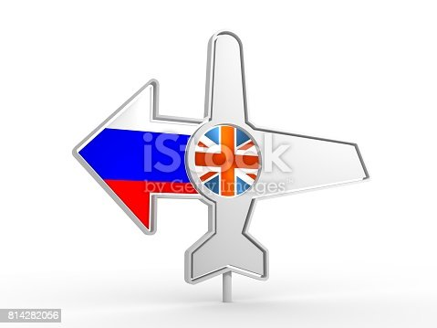istock Airplane icon and destination arrow 814282056