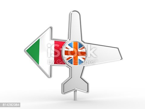 istock Airplane icon and destination arrow 814282084