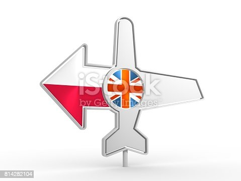 istock Airplane icon and destination arrow 814282104