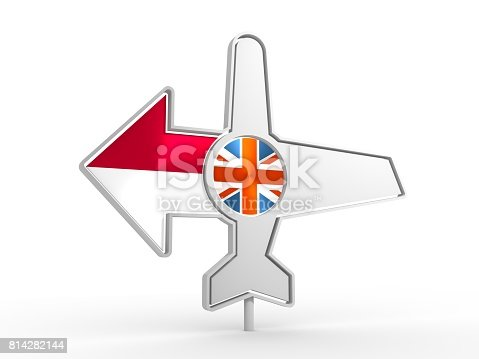 istock Airplane icon and destination arrow 814282144
