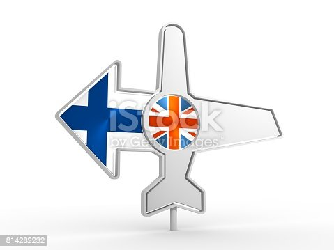 istock Airplane icon and destination arrow 814282232