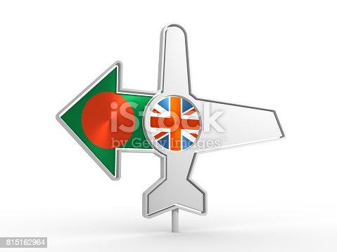 istock Airplane icon and destination arrow 815162964