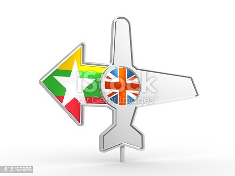 istock Airplane icon and destination arrow 815162976