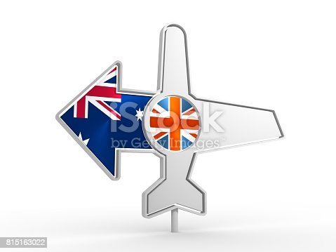 istock Airplane icon and destination arrow 815163022