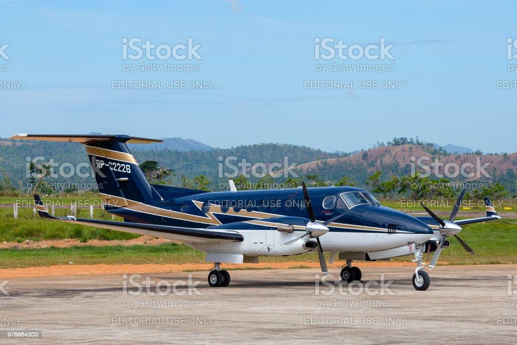 Airplane in Busuanga airport in island Coron, Philippines stock photo