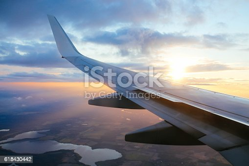 istock Airplane in flight over the Europe 618430442