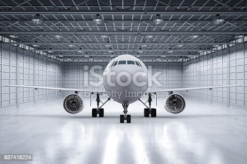 istock airplane in hangar 637416224
