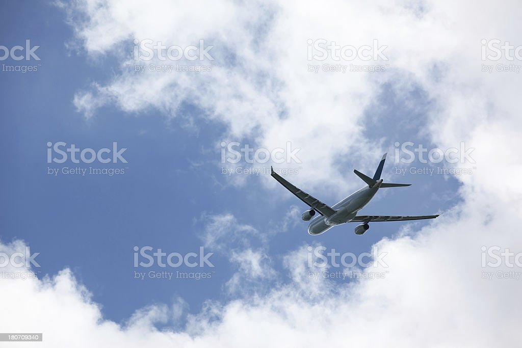 Passenger airplane taking off with nice sunny blue sky and cloudscape.
