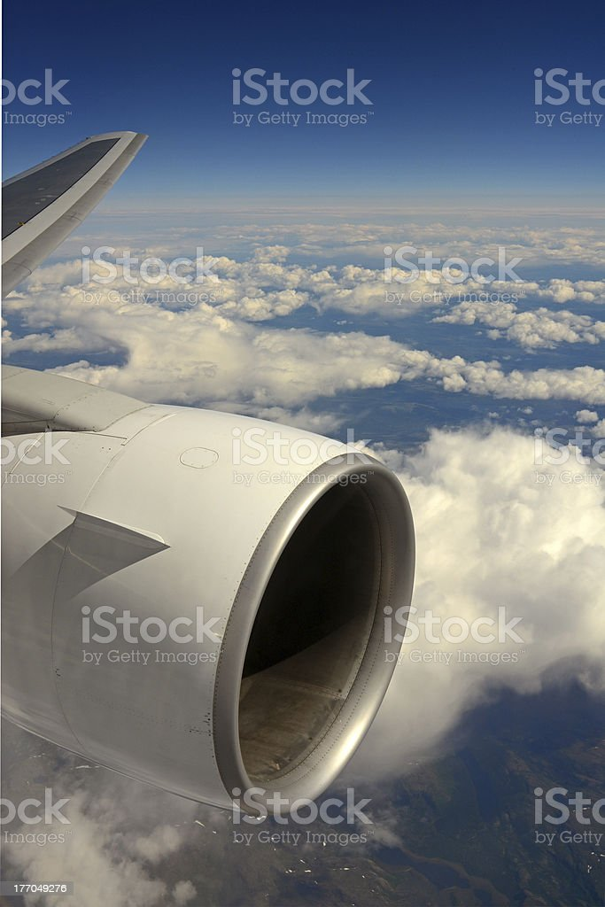 Airplane in mid-air royalty-free stock photo