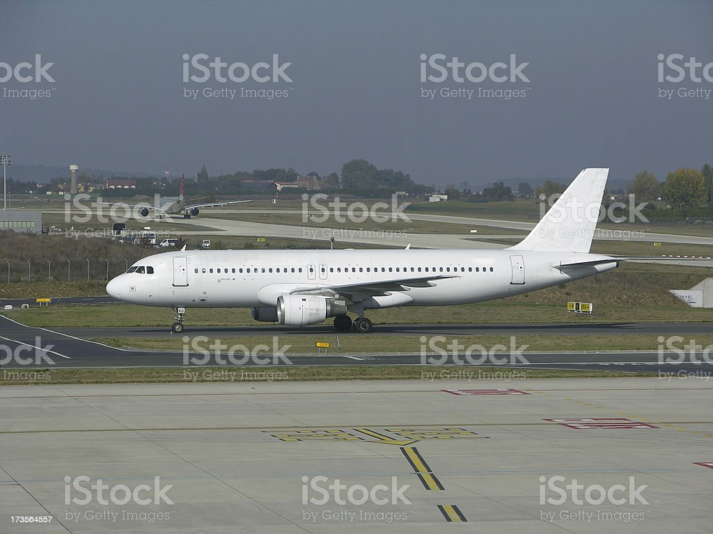 airplane in  paris stock photo