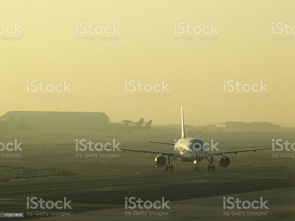 Airplane in runway royalty-free stock photo