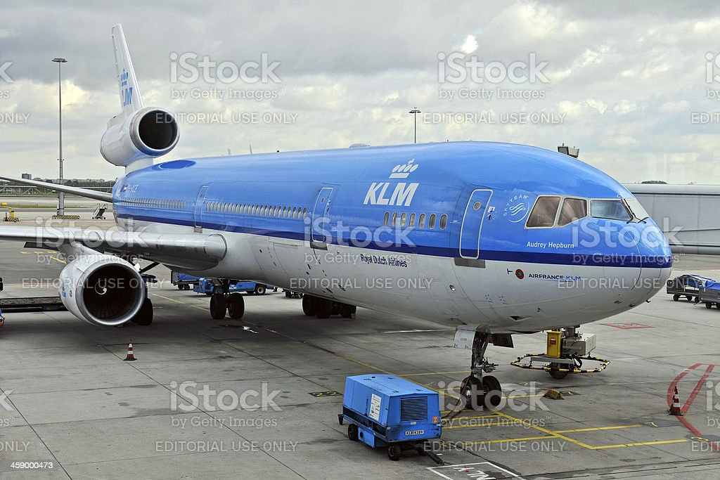 KLM Airplane in Schipol Amsterdam The Netherlands royalty-free stock photo