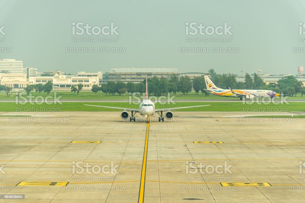 airplane in the Bangkok airport royalty-free stock photo