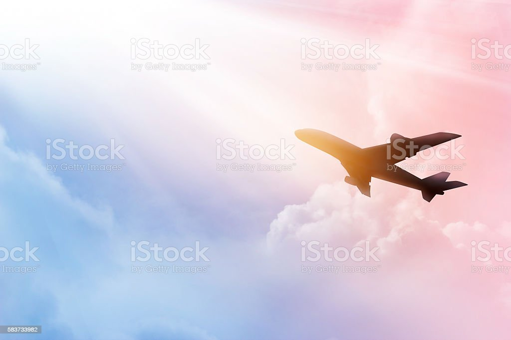 Airplane in the sky and cloud colorful at sunset – Foto