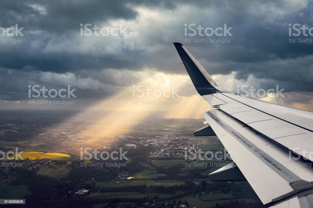Airplane in the windstorm stock photo