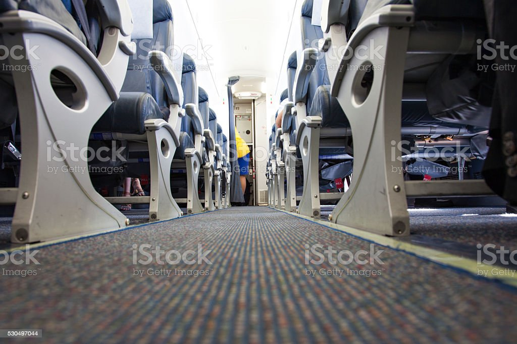 airplane interior low angle stock photo