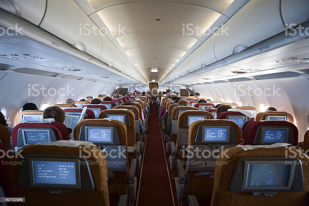 Airplane interior stock photo