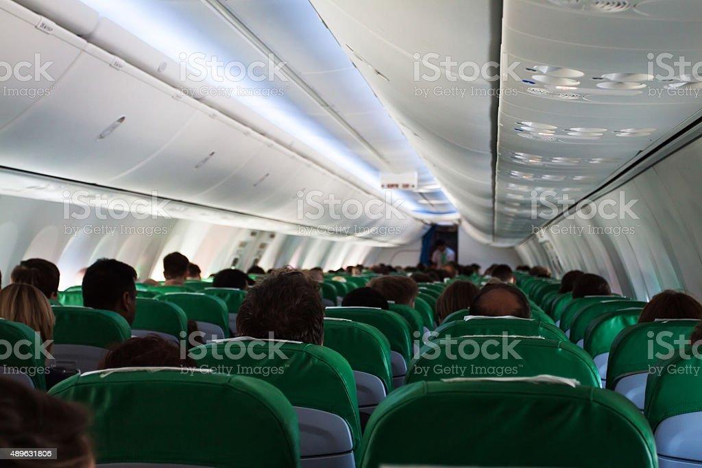 Airplane interior stock photo