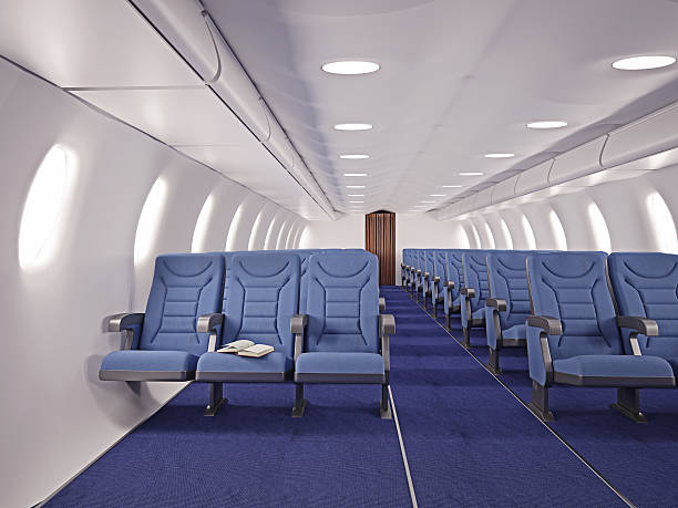 airplane interior airplane interior seats with open book airplane seat stock pictures, royalty-free photos & images