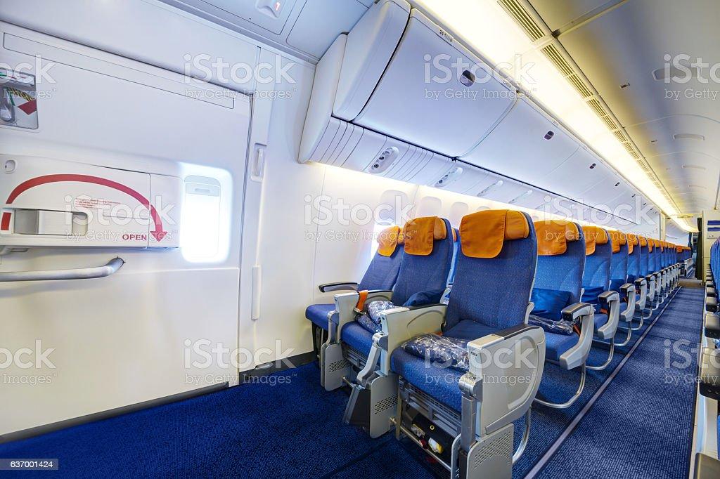 Airplane interior Airplane interior Accessibility Stock Photo