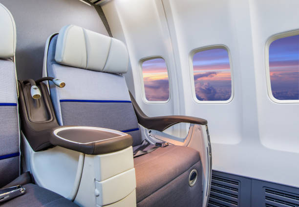 Airplane Interior Empty airplane seat first class stock pictures, royalty-free photos & images