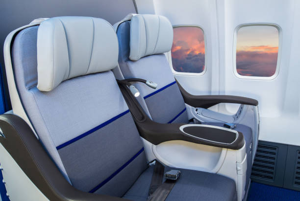 Airplane Interior Empty airplane seat airplane seat stock pictures, royalty-free photos & images