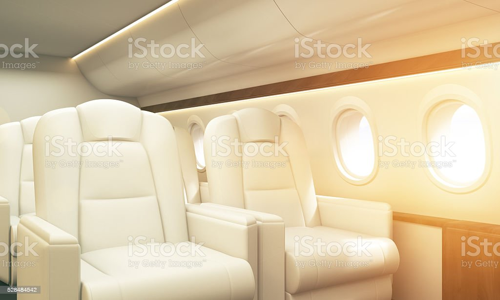Airplane interior toning stock photo