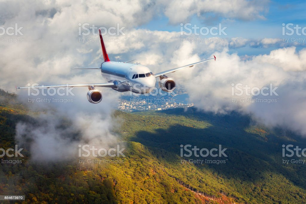 Airplane is flying in clouds over mountains with forest at sunset. Landscape with white passenger airplane, cloudy sky and green trees. Passenger aircraft is landing. Business travel. Commercial plane stock photo