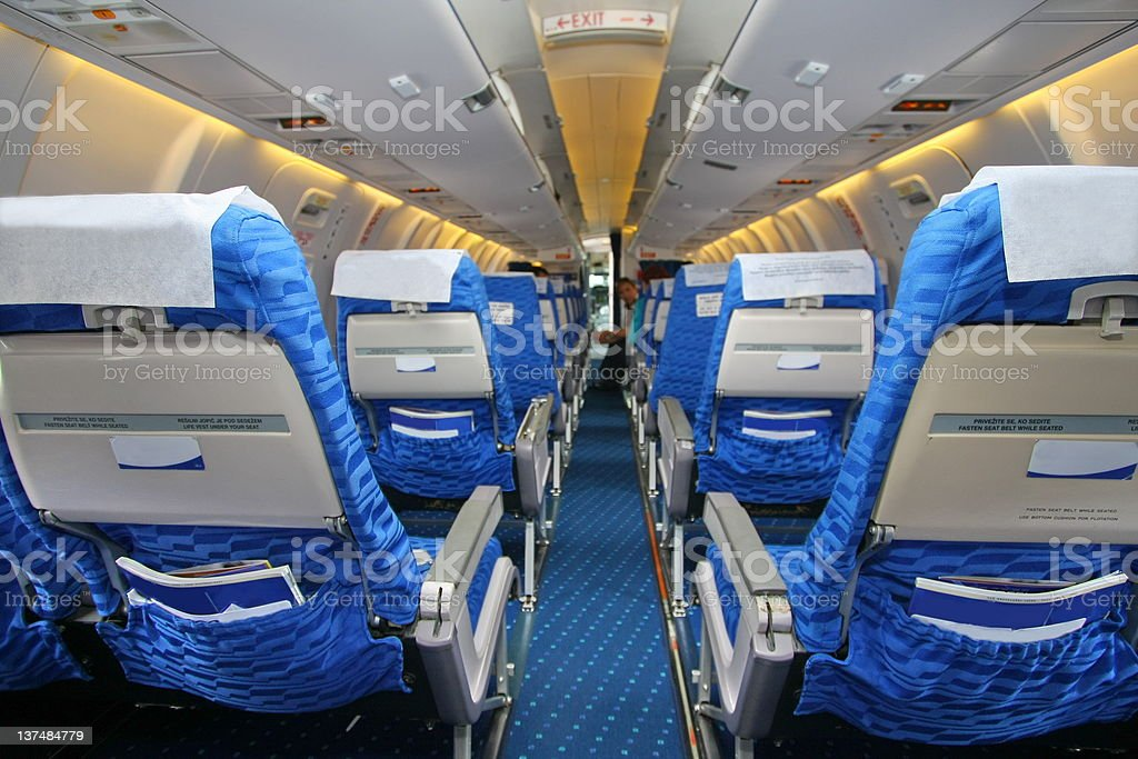 Airplane is waiting for passengers stock photo