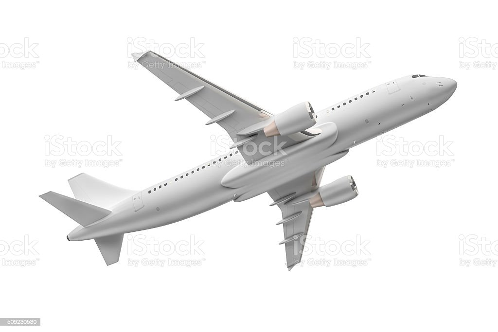 Airplane isolated on a white background stock photo